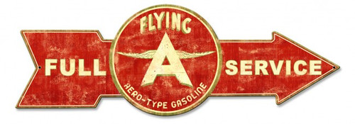Full Service Flying A Arrow Metal Sign 32 x 11 Inches