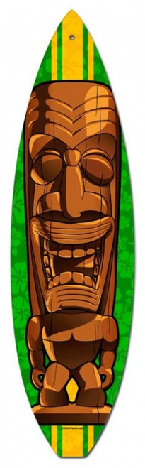 Vintage Brown Tiki Surfboard Metal Sign 6 x 22 Inches