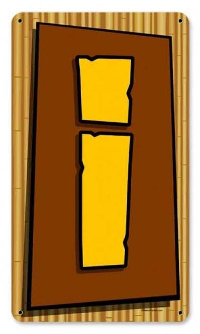 Vintage Tiki Letter I Metal Sign    8 x 14 Inches