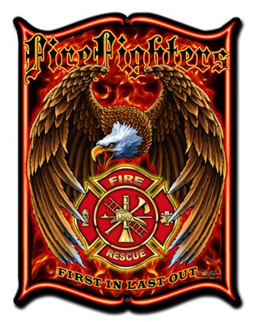 Firefighters Metal Sign 24 x 33 Inches