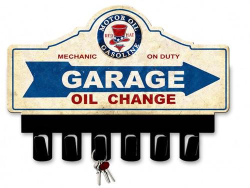 Motor Oil Gasoline Metal Key Hanger 14 x 10 Inches