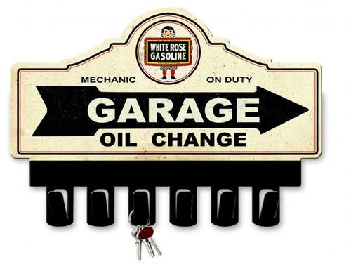 White Rose Gasoline Metal Key Hanger 14 x 10 Inches