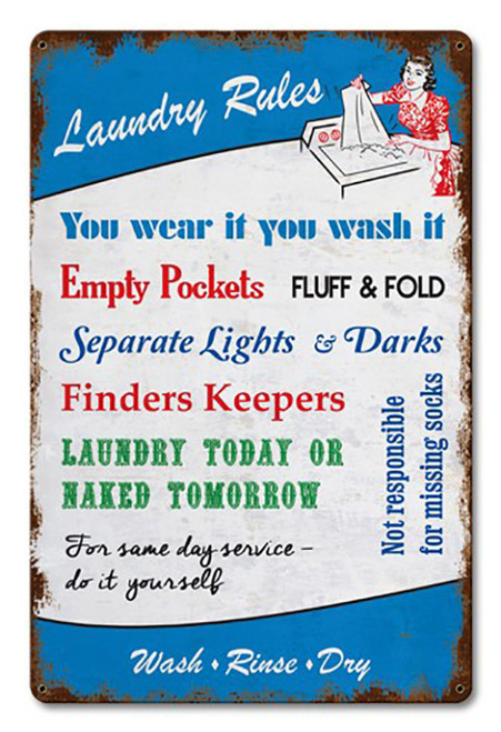 Laundry Rules Metal Sign 18 x 12 Inches