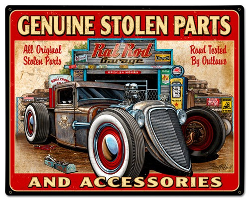 Genuine Stolen Parts Metal Sign 30 x 24 Inches