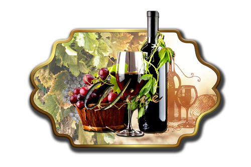 3-D Layered Wine And Grapes Metal Sign 24 x 12 Inches
