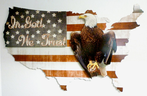 3-D Layered In God We Trust Usa Metal Sign 35 x 21 Inches