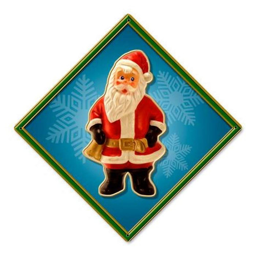 Vintage Santa Bell Metal Sign 12 x 12 Inches