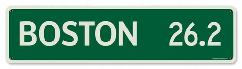 Vintage Mile Sign Boston Metal Sign 5 x 20 Inches