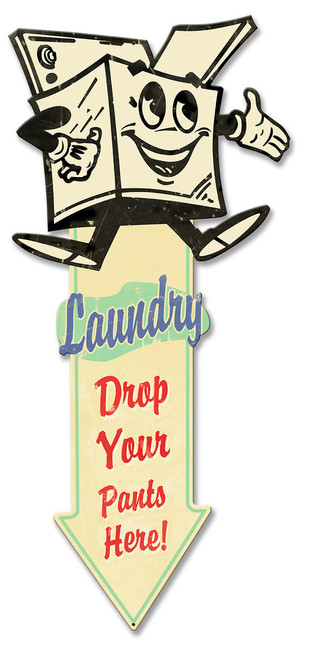 Laundry Arrow Down Metal Sign 23 x 10 Inches