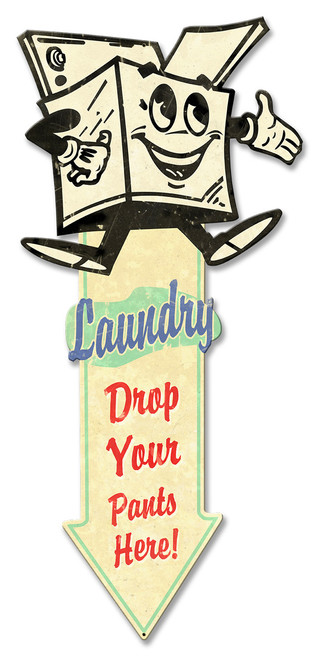 Laundry Arrow Down Grunge Metal Sign 23 x 10 Inches