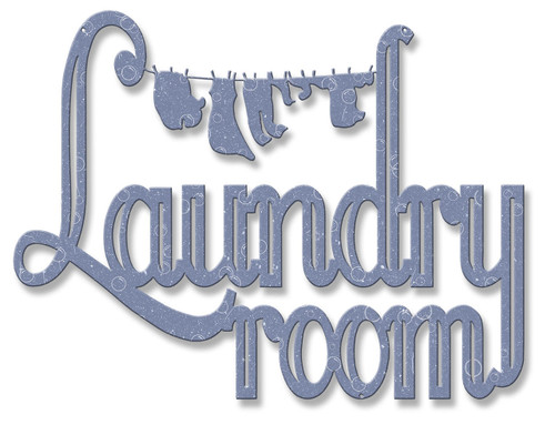 Laundry Room Clothes Line Silhouette Metal Sign 17 x 13 Inches