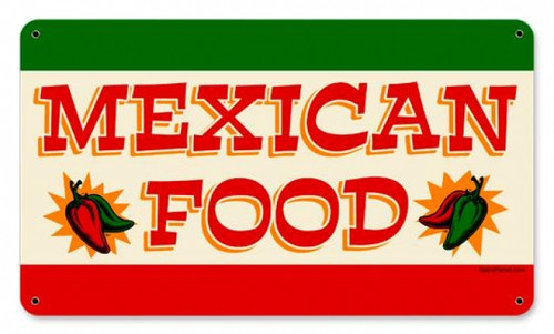 Retro Mexican Food Metal Sign 14 x 8 Inches
