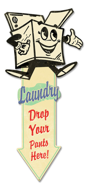 Laundry Arrow Down Metal Sign 27 x 12 Inches