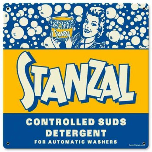Vintage Stanzal Metal Sign 12 x 12 Inches