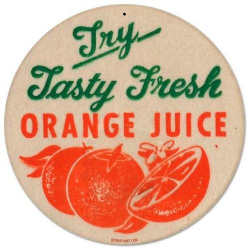 Retro Orange Juice Round Metal Sign 14 x 14 Inches