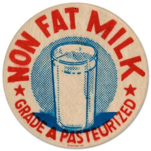 Retro Nonfat Milk Round Metal Sign 14 x 14 Inches