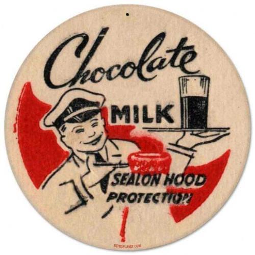 Retro Chocolate Milk Round Metal Sign 14 x 14 Inches