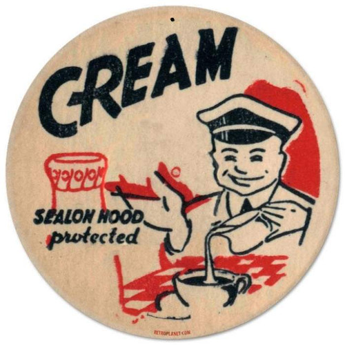 Retro Cream Round Metal Sign 14 x 14 Inches
