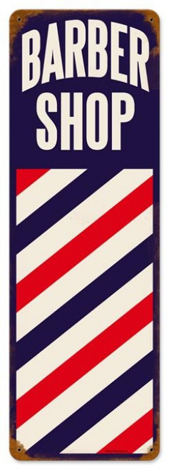 Vintage Barber Pole Metal Sign 8 x 24 Inches