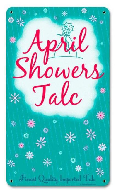 Vintage April Showers Metal Sign 8 x 14 Inches