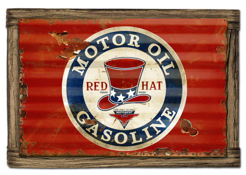 Red Hat Gasoline Metal Sign 24 x 16 Inches