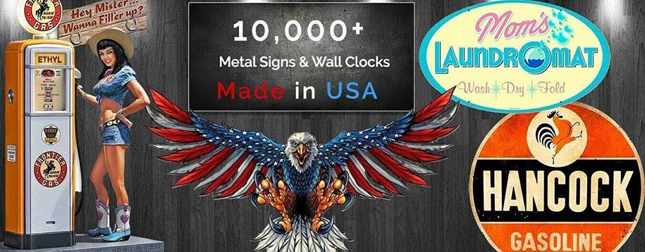 Metal signs and wall clocks