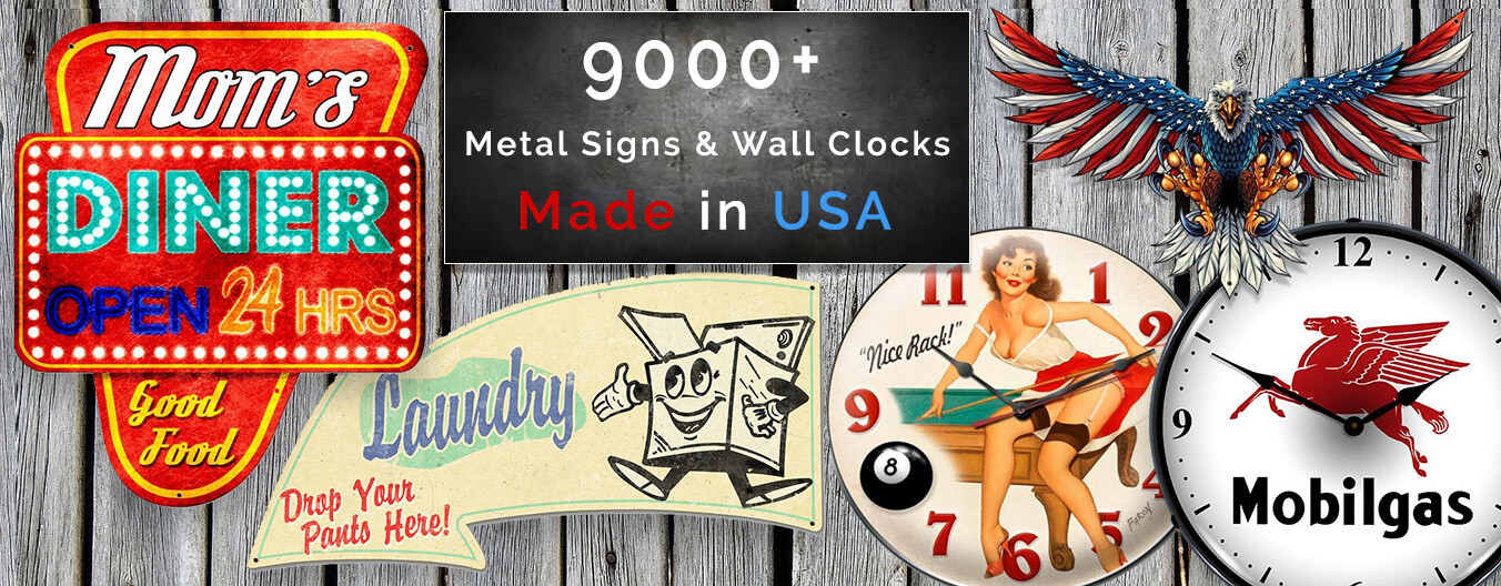 Vintage and Retro Metal Signs, Wall Clocks and Neon Signs