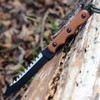 "TOPS TPRBL02 Ranger Bootlegger 2, 5"" 1095 Double Edged Sawback Blade, Tan Canvas Micarta Handle"