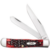 "Case 27380 Trapper, 4 1/8"" Clip and Spey Blades, Crimson Peach Seed Jig Bone Handle (6254SS)"