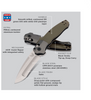 "Benchmade 496 Vector Assist Flipper, 3.6"" CPM-20CV Satin Blade, Contoured OD Green G10 Handle"