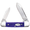 """Case Baby Butterbean CA27763, 2 3/4"""" Spear and Pen Blades, Smooth Ultra Violet Bone Handle"""