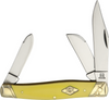 """Rough Ryder Stockman Carbon Yellow, RR1740, 4.25"""" Sheepfoot and Spey Blades, Yellow Smooth Synthetic Handle"""