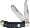 Rough Ryder RR1951 Blue Smooth Bone Sowbelly Trap, Stainless Steel, Bone Handle,