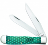 """Case Basket Weave Trapper 15501, 4 1/8"""" Closed Length SS Blades, Natural Bone w/Turquoise Color Wash Handle"""