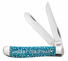 Case 10589 Merry Christmas Smooth CARIBBEAN BLUE BONE MINI TRAPPER (6207 SS) IN GIFT TIN