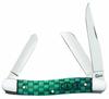 "Case Basket Weave Medium Stockman 15503, 3 5/8"" Closed Length SS Blades, Natural Bone Handle w/Turquoise Color Wash"