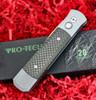 ProTech 900CF GodFather  Cabon Fiber Inlays, 154CM Satin Plain Blade, Grey Aluminum Handle