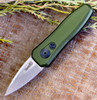 "Kershaw Launch 4 KS7500OLSW, 1.9"" CPM 154 Stonewash Plain Blade, Olive Anodized Aluminum Handle"