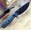 "ESEE-3 3PMB-002, 3.88"" 1095 Carbon Steel Black Plain Blade, Gray/Black G10 3D Handle,  Black Sheath"