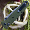"""Benchmade Bailout 537GY-1, 3.38"""" CPM-M4 Grey Coated Tanto Plain Blade, Green Aluminum Handle"""