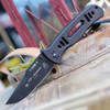"Tops FKMD & T.O.P.S. USA Collaboration FX-CQT-747, 4.5"" N690Co Steel Black Clip Point Blade, G-10 Handle"