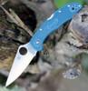 """Spyderco Delica K390 Lightweight C11FPK390, 2.90"""" K390 Steel Plain Blade, Blue FRN Handle"""