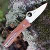 "Spyderco SpyOpera C255CMP, 2.88"" M390 Satin Plain Blade, Brown Micarta Canvas Handle"