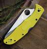 "Spyderco Pacific Salt 2 C91PYL2, 3.78"" H-1 Steel Satin Plain Blade, Yellow FRN Handle"