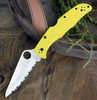 "Spyderco Pacific Salt 2 C91SYL2, 3.78"" H-1 Steel Satin Serrated Blade, Yellow FRN Handle"