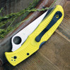 "Spyderco Pacific Salt 2 C91PYL2, 3.78"" H-1 Steel Satin Plain Blade, Yellow FRN Handle"