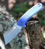 "Civivi Mini Bullmastiff Linerlock C2004B,  2.97"" 9Cr18MoV Stonewashed Plain Blade, Blue G10 Handles"