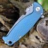 """DPx Gear H.E.S.T/F 3.0 3D Ti Flipper DPXHSF015, 3.15"""" M390 Stonewash Plain Blade, 3D Blue Tianium Handle"""