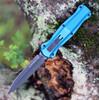 "Benchmade 3300BK-2001 Infidel,  3.91"" Black DLC Coating Dagger Blade, Blue Aluminum handle"