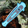 Kershaw 7125 Launch 12, 2.5 CPM154 Stonewash Blade, Teal Aluminum w/Carbon Fiber Insert Handle